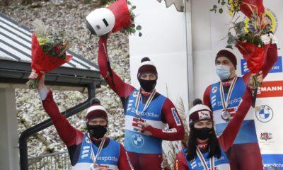 Latvijas kamaniņu braucēji Siguldā izcīna sudraba medaļu Eiropas čempionātā stafetē